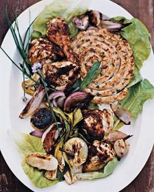Grilled Mustard-Garlic Chicken with Sausage - Martha Stewart Recipes