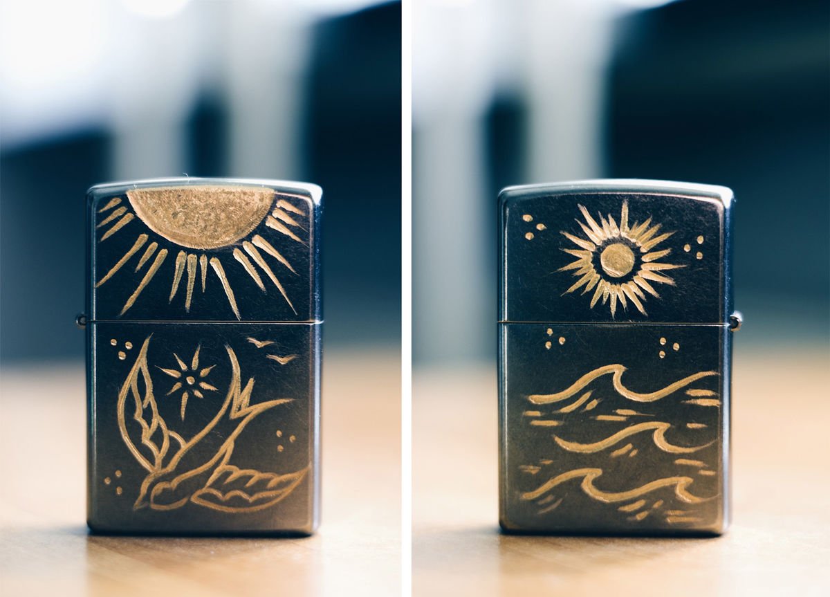 SWALLOW - Custom Hand Engraved Lighter (FRONT/BACK) - Rocco Malatesta
