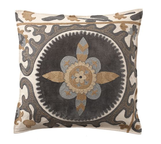 Suzani Appliqué Embroidered Pillow Cover | Pottery Barn