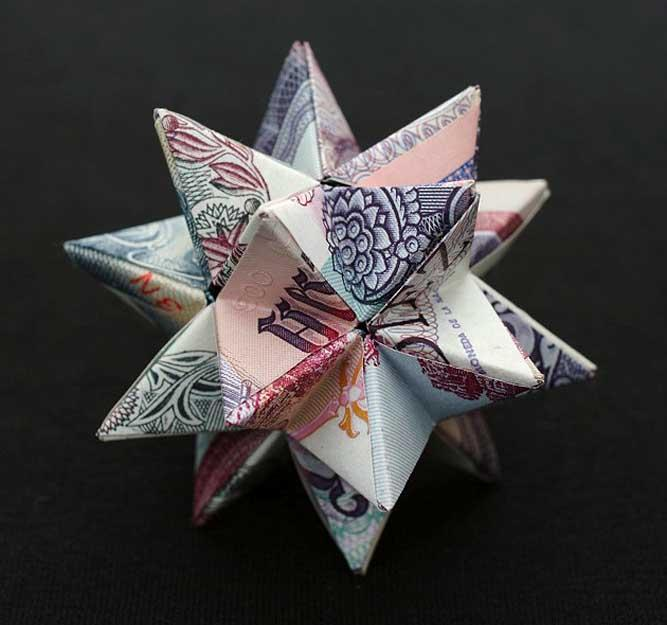 Geometric Sculptures made from Cold Hard Cash