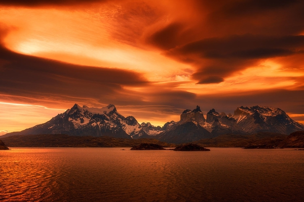 photography landscape nature sunset lake mountains snowy peak amber clouds calm torres del paine nat – General Wallpapers | Wallpapersub