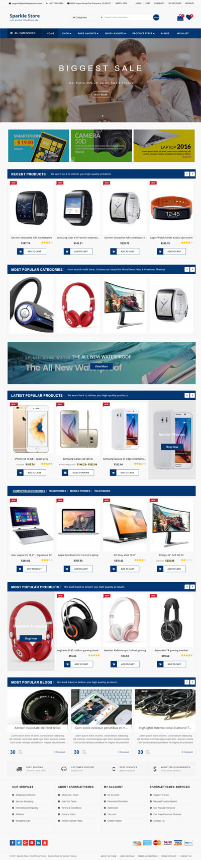 Sparklestore - Best Free WordPress Store / WooCommerce Theme