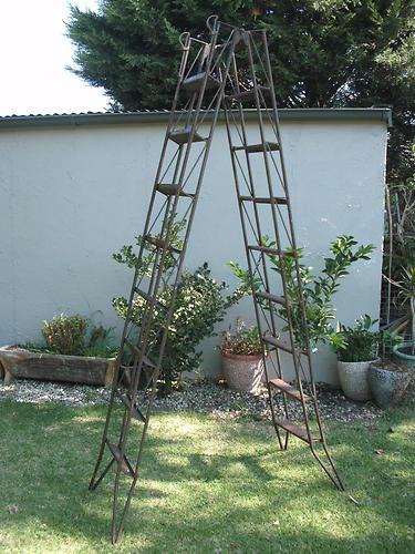 Vintage INDUSTRIAL 1940's Firemans Steel Ladder~ Flip and Lock to 4.6M~ Retro | eBay