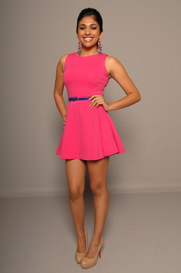 Pink Dress From Zara Blue Belt From Forever 21 Nude Heels With