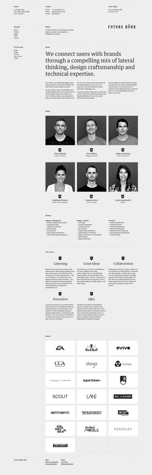The website design showcase of Future Büro.