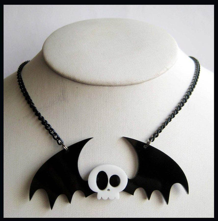 Skull Bat Acrylic Necklace by ~cherryboop