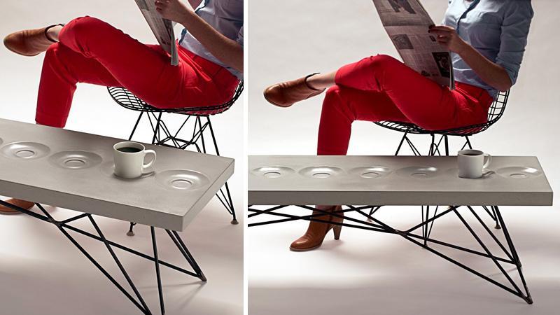 Stolik kawowy z wbudowanymi spodkami | Gizmodo | gad?ety, nowe technologie, kultura internetu