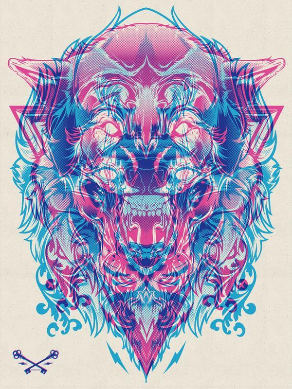 Halftone Print Series - Wolf & Lion