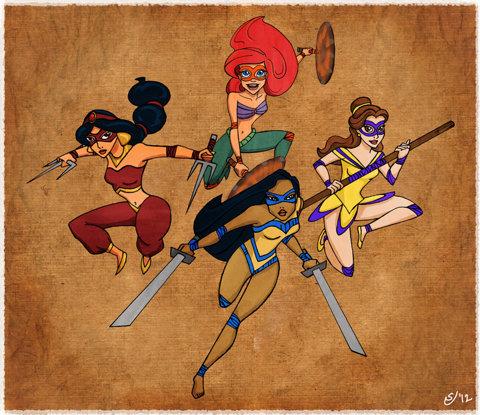 Teenage Disney Ninja Princesses Art Print by Sarah J | Society6