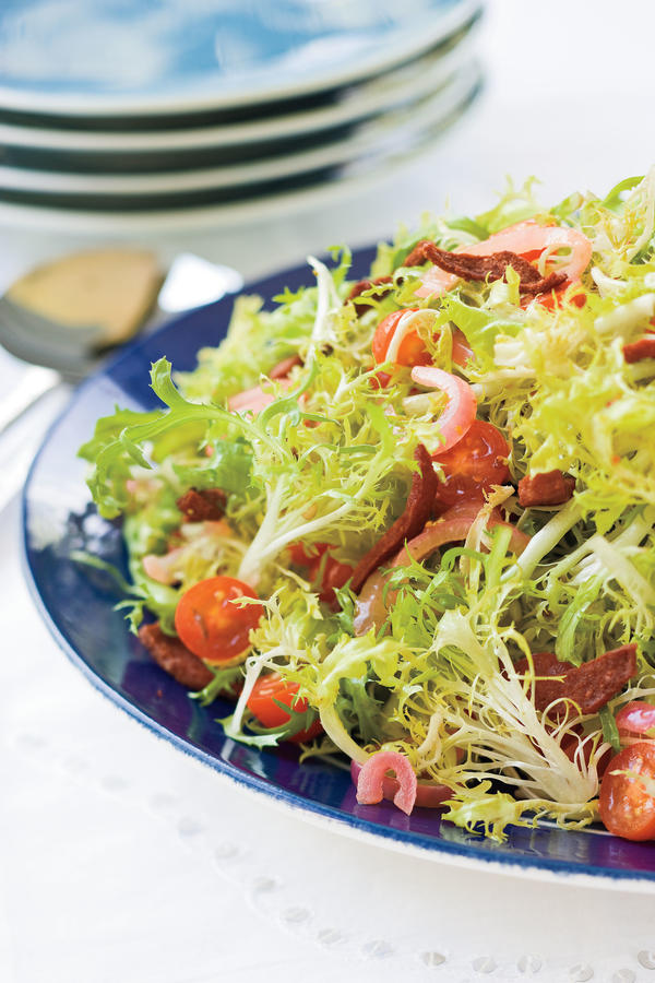 Warm frisee salad with crispy kosher salami christmas for Southern living login
