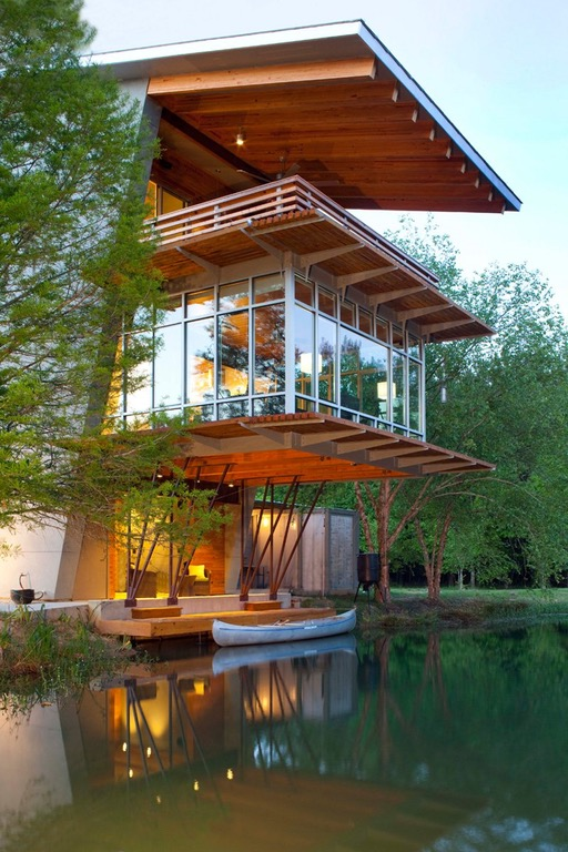 "The ""Pond House at Ten Oaks Farm"" in Hammond, Louisiana, designed by Holly & Smith Architects. [800 × 1200] : ArchitecturePorn"