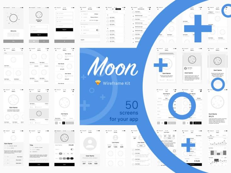 Moon Wireframe Mobile UI kit - Free Download | Freebiesjedi