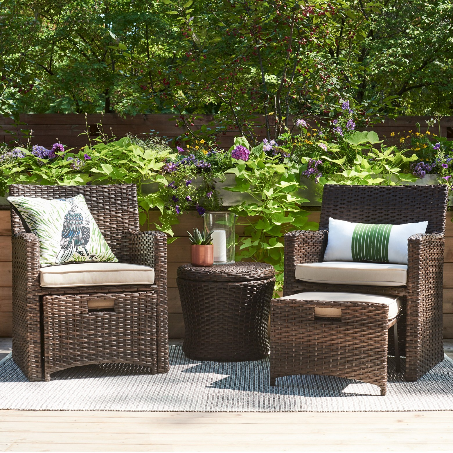 Halsted 5 Piece Wicker Small Space Patio Furniture Set Threshold Tar