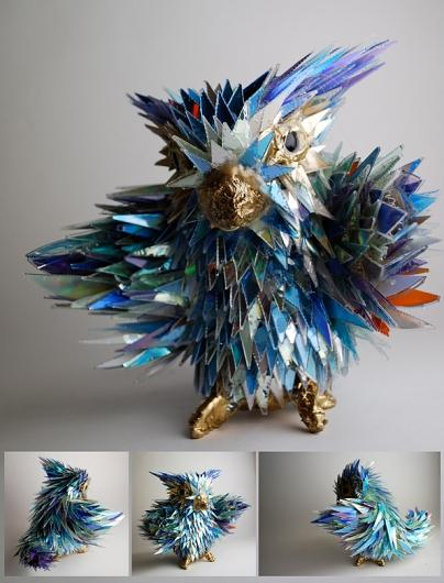 Designspiration — Broken CDs Transformed Into Iridescent Animal Sculptures | The Creators Project