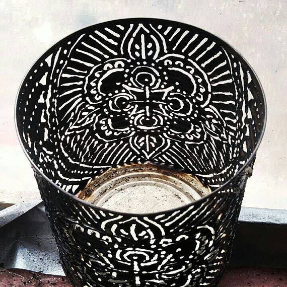 Mandala candle holder torch cut tin luminaries. Tin can