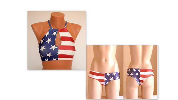 PADDED ..American flag cut out high neck halter bikini top and