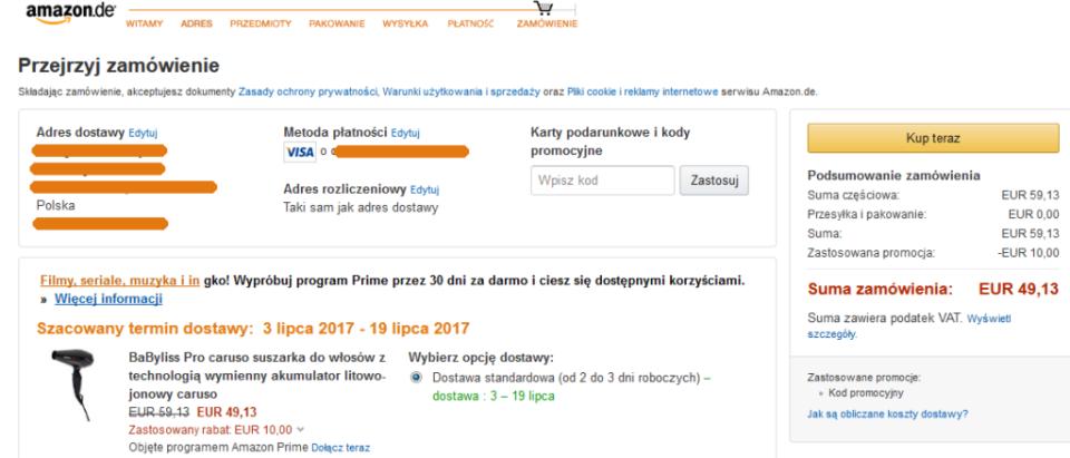 Amazon kod promocyjny - Amazon w Polsce