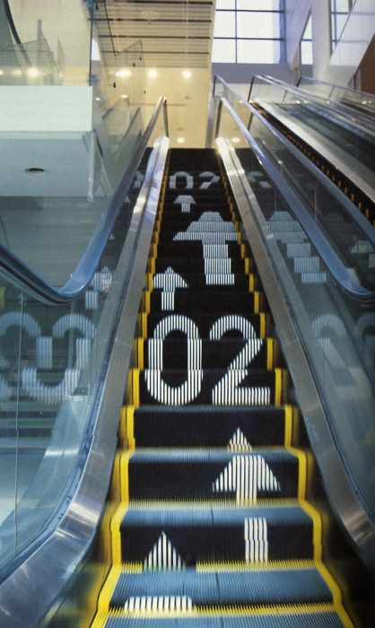 Signage on escalators on Inspirationde