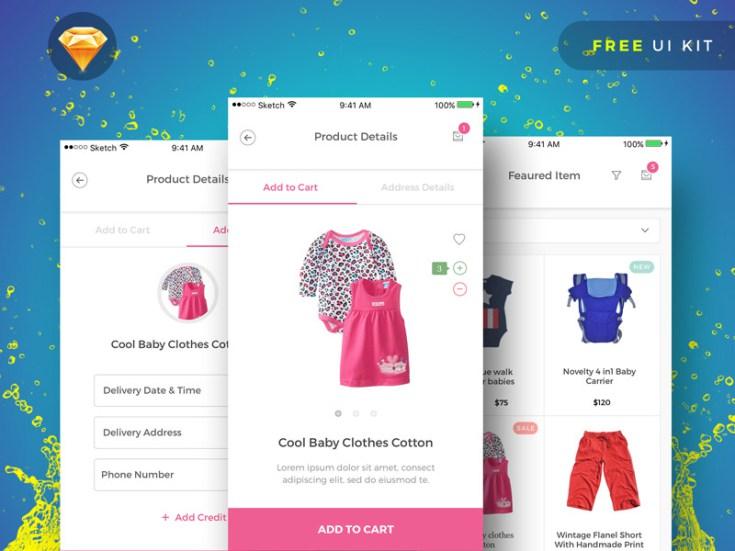 BabyPink : Free Sketch Ecommerce UI Kit - Free Download | Freebiesjedi