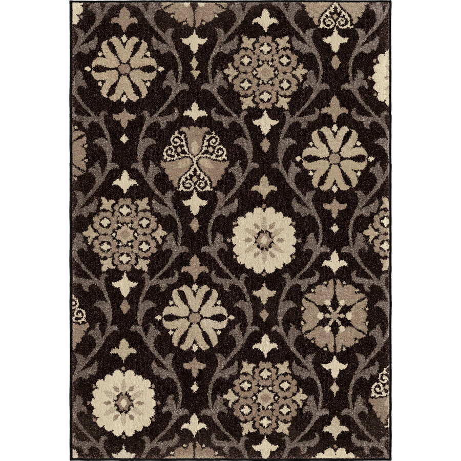 Shop Orian Rugs Borrego Black Rectangular Indoor Machine-made Nature Area Rug (Common: 8 x 11; Actual: 7.83-ft W x 10.83-ft L) at Lowes.com