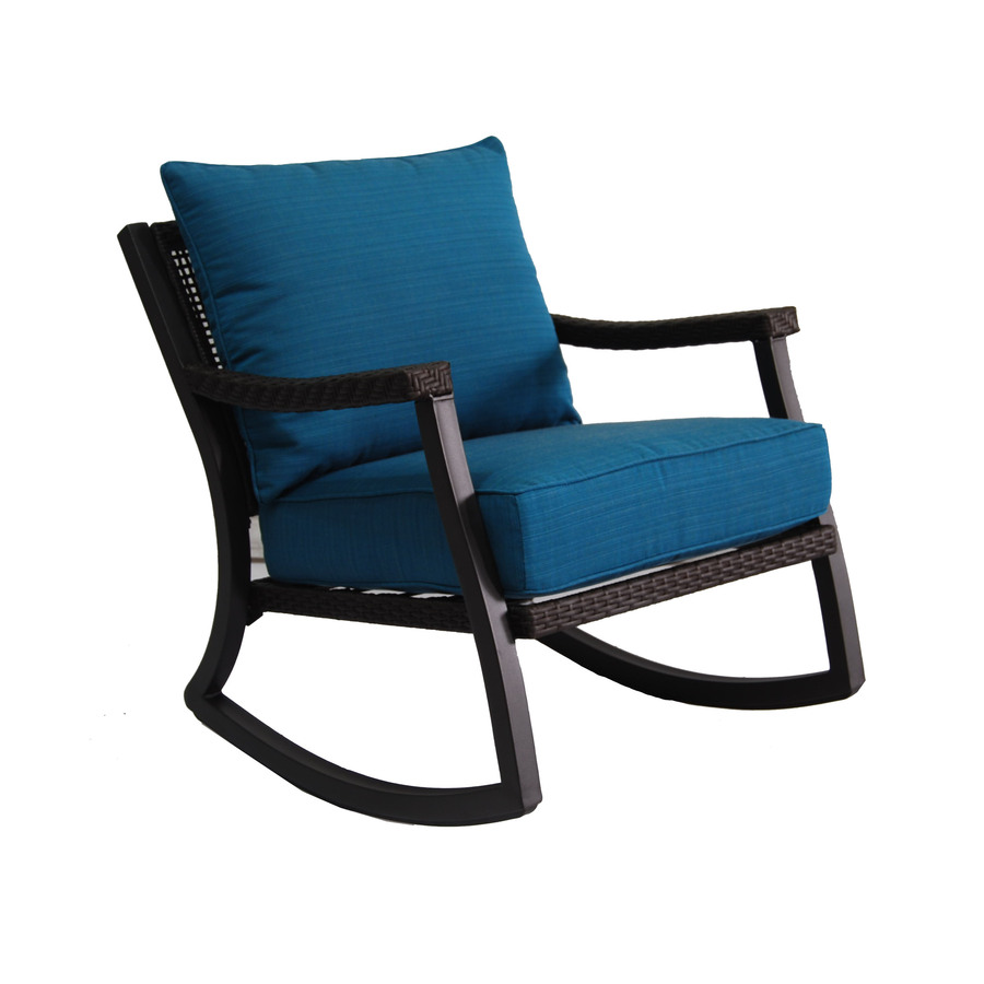 Shop allen + roth Netley Brown Wicker Rocking Patio Conversation Chair with a Deep Sea Blue Sunbrella Cushion at Lowes.com