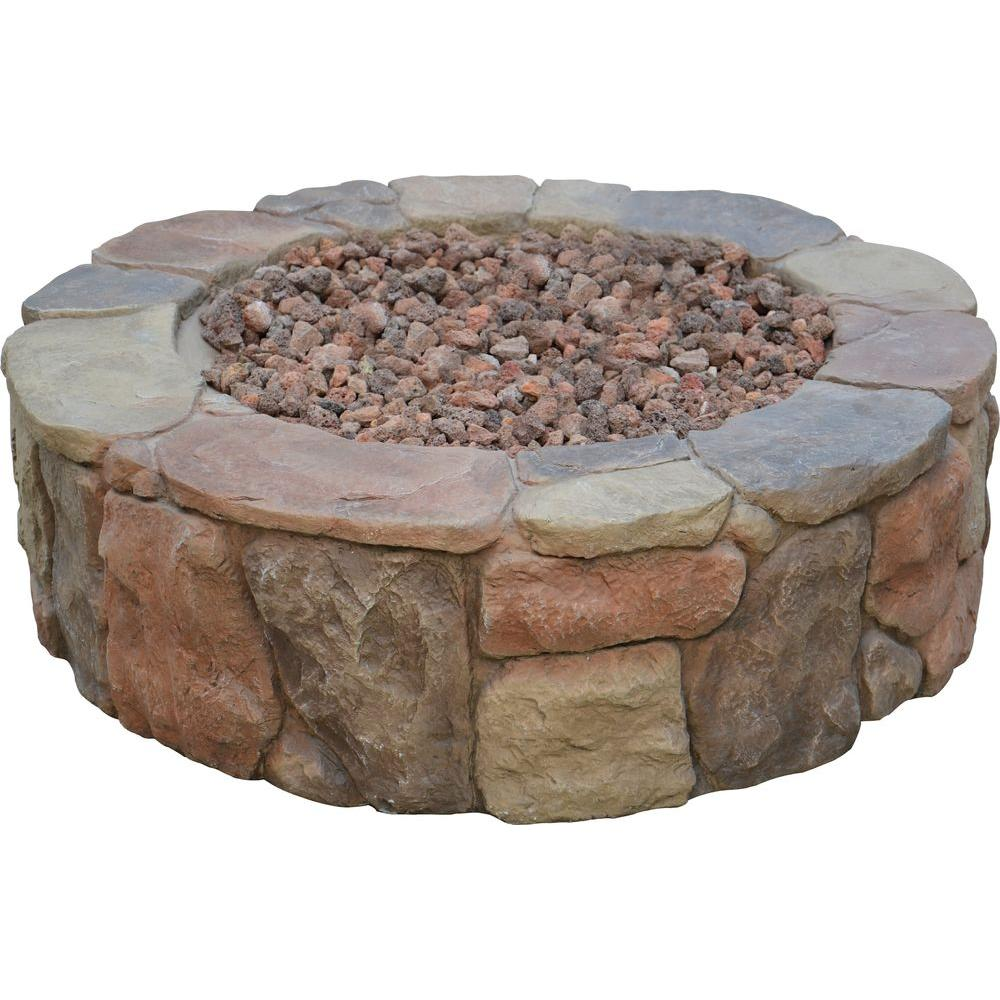 Hampton Bay Petra 36 in. Round Envirostone Propane Fire Pit-66600BOND - The Home Depot