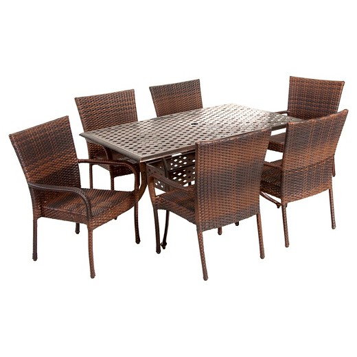 Littleton 7pc Rectangular Outdoor Cast Aluminum and Wicker Dining Set - Bronze and mixed brown - Christopher Knight Home : Target