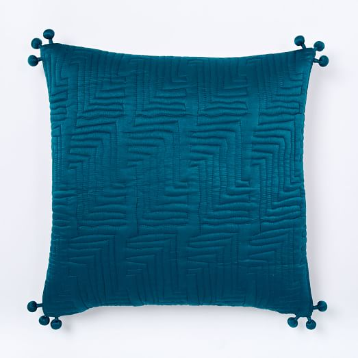 Washed Silk Quilted Pillow Cover - Blue Teal | west elm
