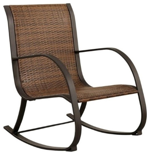 Pemberly Row Patio Rocker, Black - Tropical - Outdoor Rocking Chairs - by Homesquare