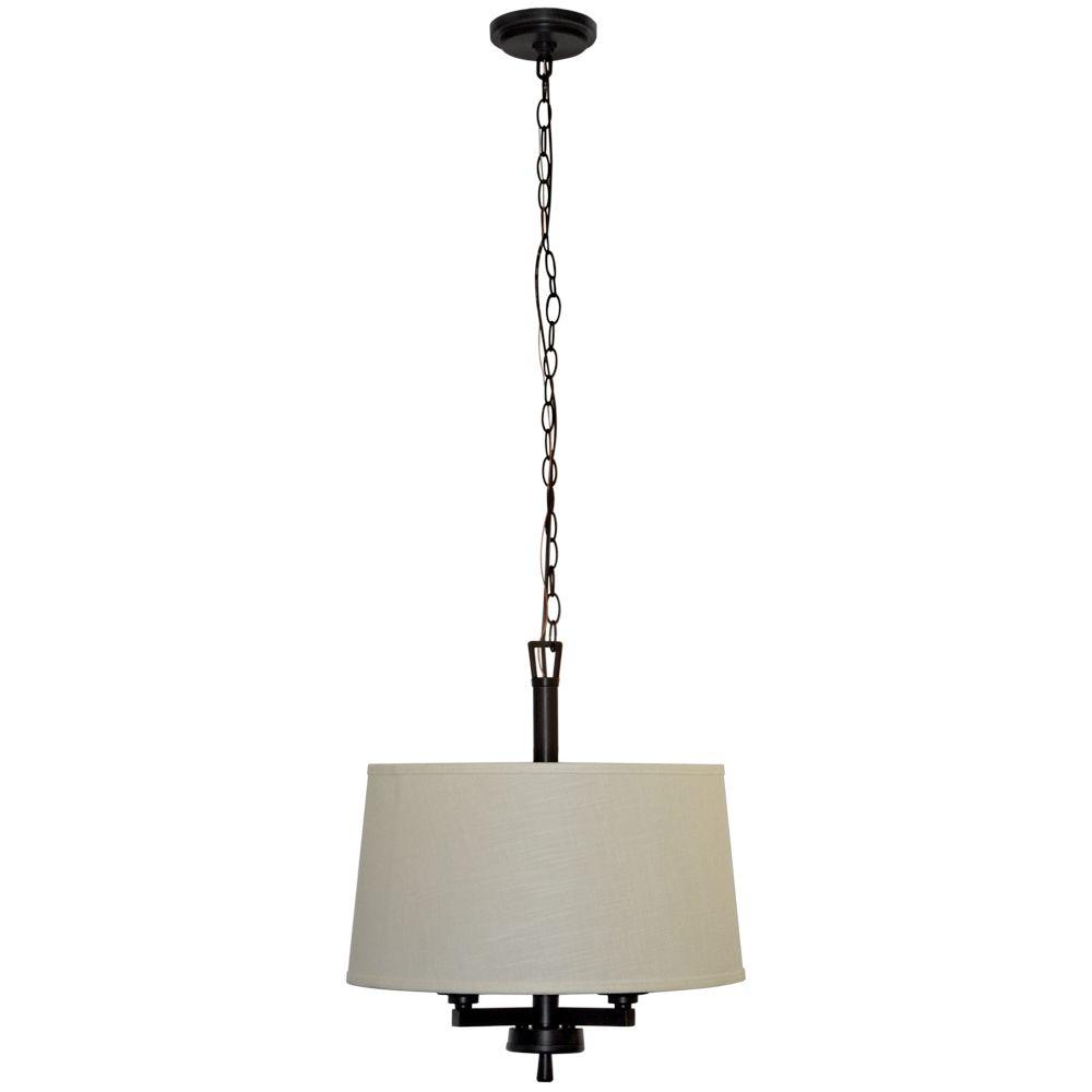 Hampton Bay Atchison 3-Light Oil-Rubbed Bronze Drum Pendant with White Linen Shade-ES4697OB4 - The Home Depot