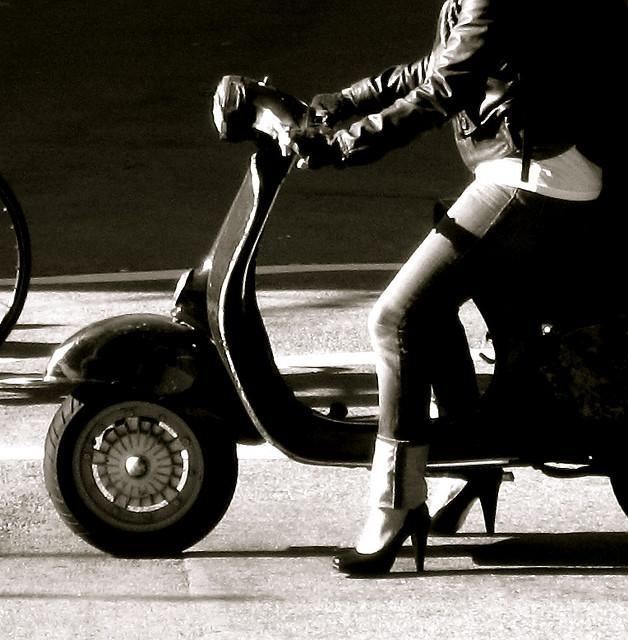 Vespa & Heels Waiting at the Light   Flickr - Photo Sharing!