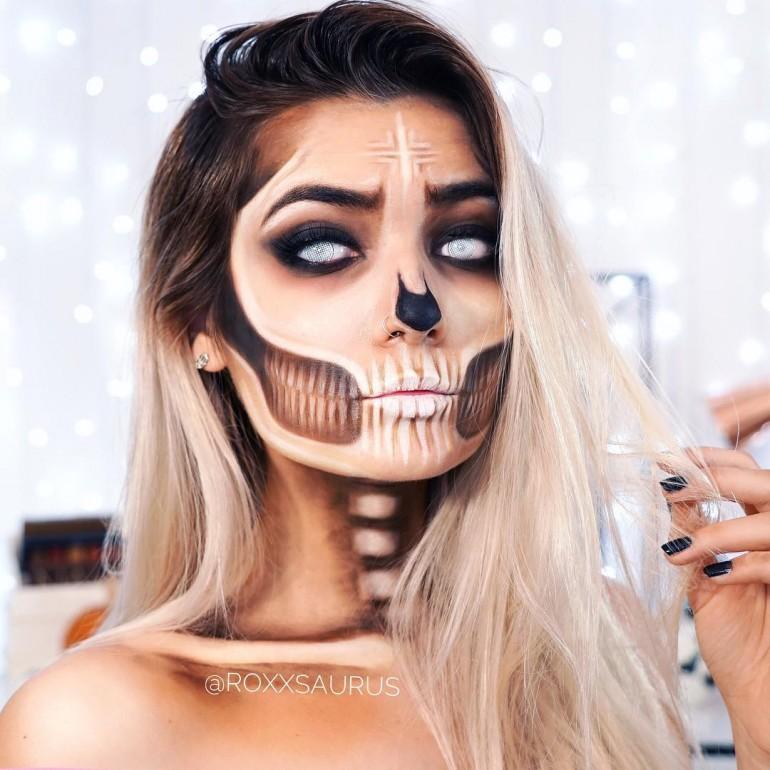 'Bronzed Skull' Halloween Makeup by roxxsaurus on Inspirationde