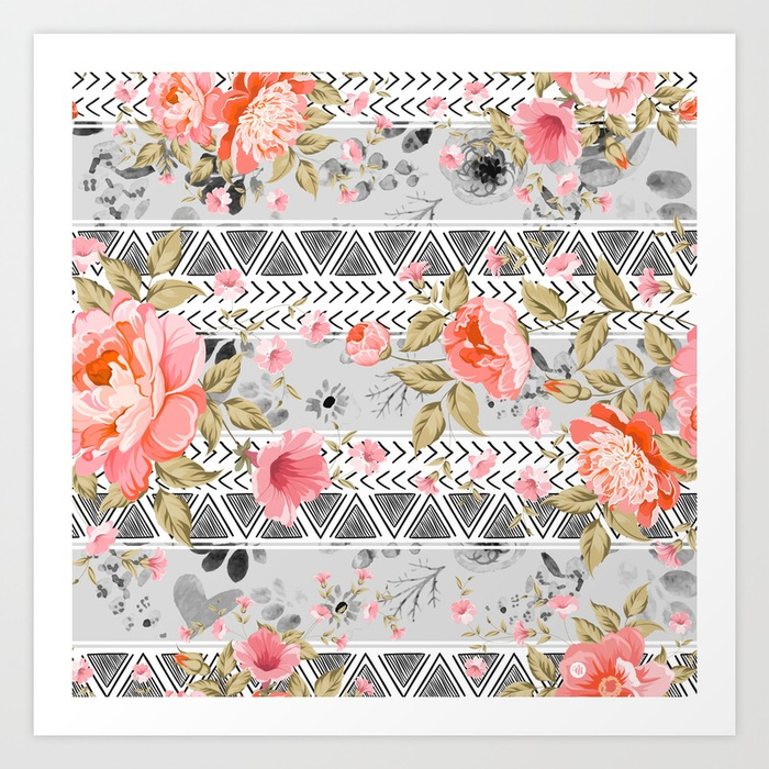 Pattern flowers with triangular shapes Art Print by mmartabc | Society6