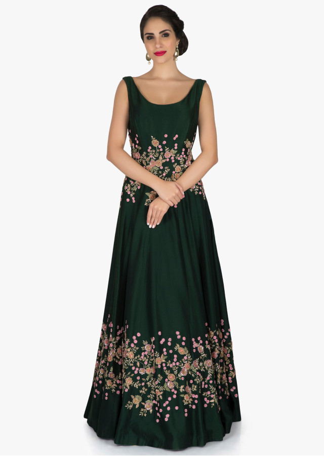 Bottle green raw silk gown with flower embroidery only on Kalki - Kalkifashion