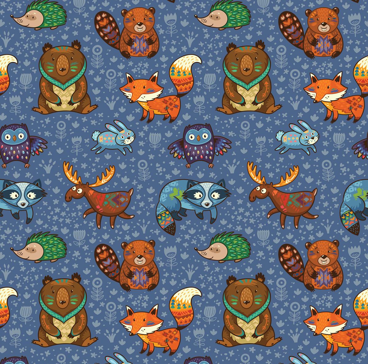Forest animals pattern on