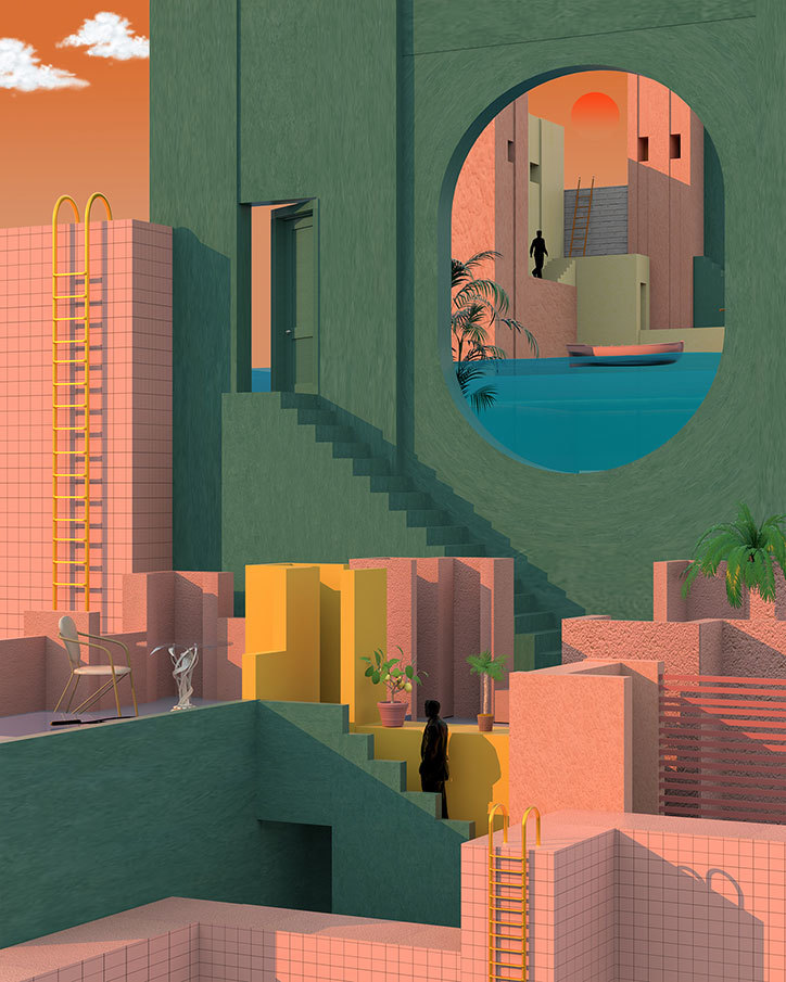 It's Nice That | Kurdish illustrator Tishk Barzanji explores isolation and anxiety in his surrealist urban landscapes