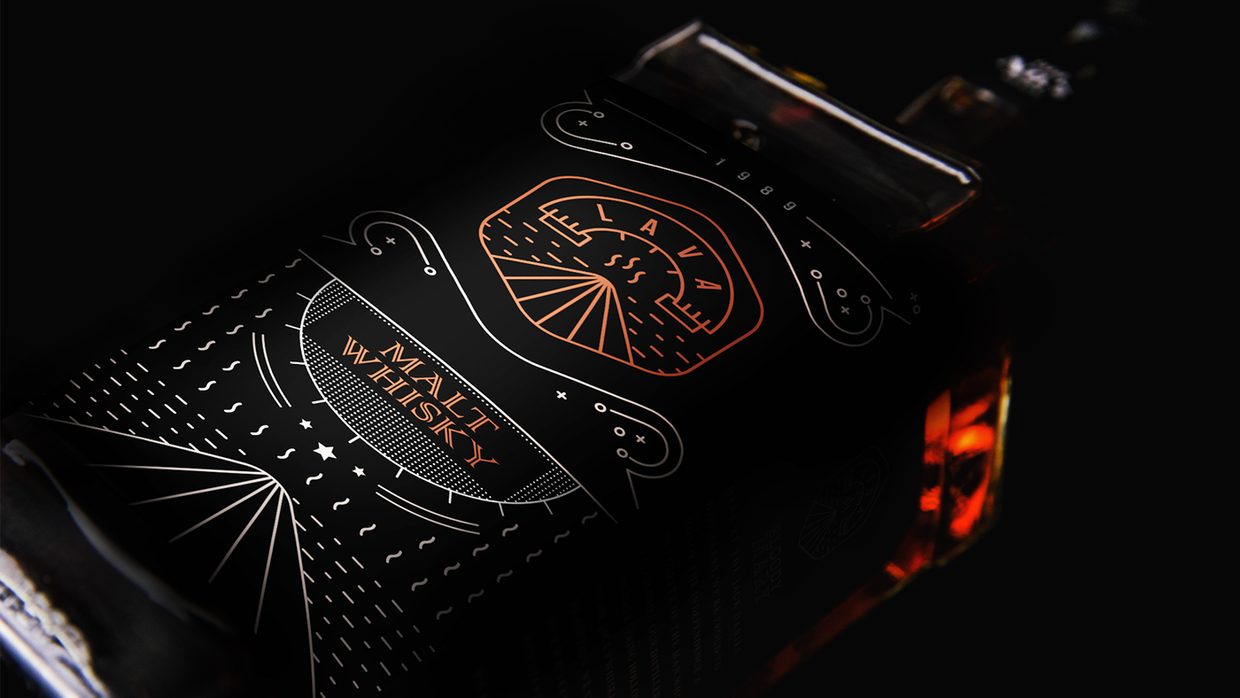 Intricate and Modern Brand Identity for Whiskey Bottle