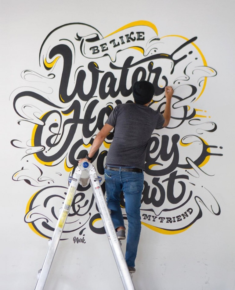 Be like water, hops, barley, yeast. Loving this mural by @markcaneso on Inspirationde