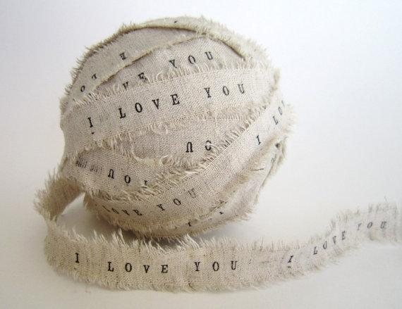 Personalized Ribbon 2 YARDS I Love You linen by TheLonelyHeart