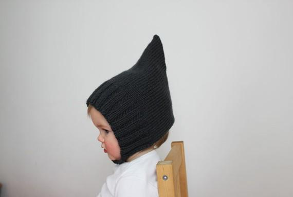 Simple Ribbed Pixie Bonnet Slate Gray by sweetKM on Etsy