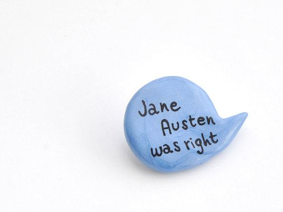 Polymer clay brooch light blue balloon Jane Austen by madamaRobe