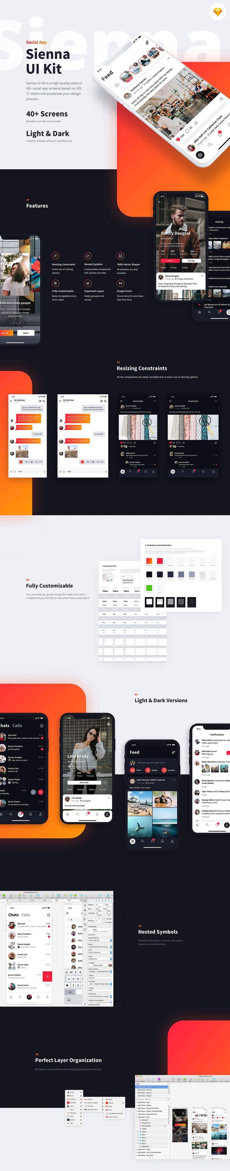 Sienna iOS UI Kit on Inspirationde