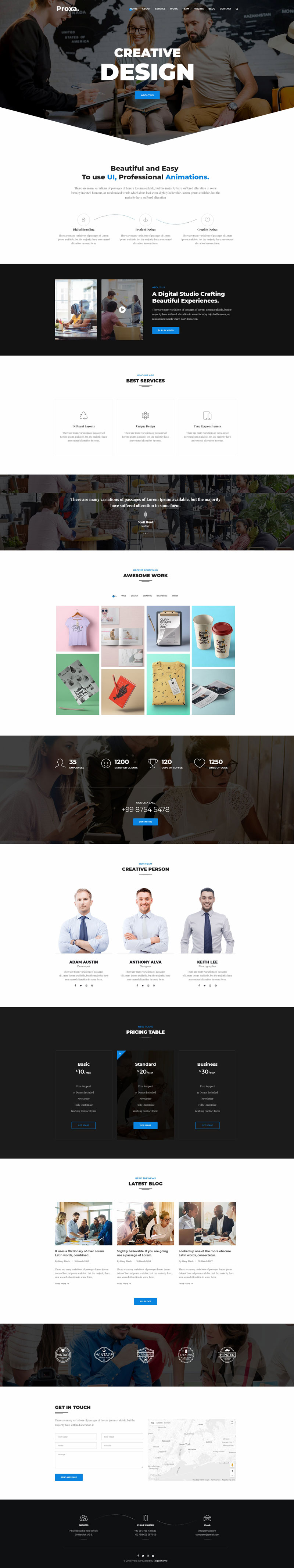 Proxa - One Page Parallax on Inspirationde