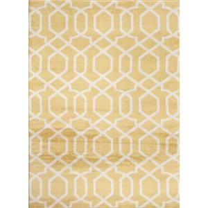 World Rug Gallery Contemporary Trellis Design Yellow 8 ft. x 10 ft. Indoor Area Rug-304 Yellow 7'10
