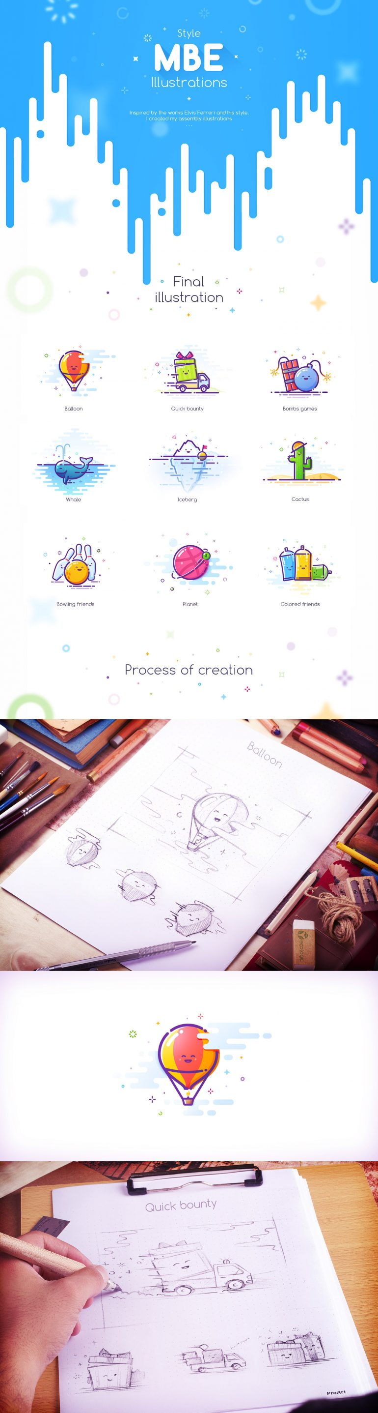 MBE Style Illustration process on Inspirationde