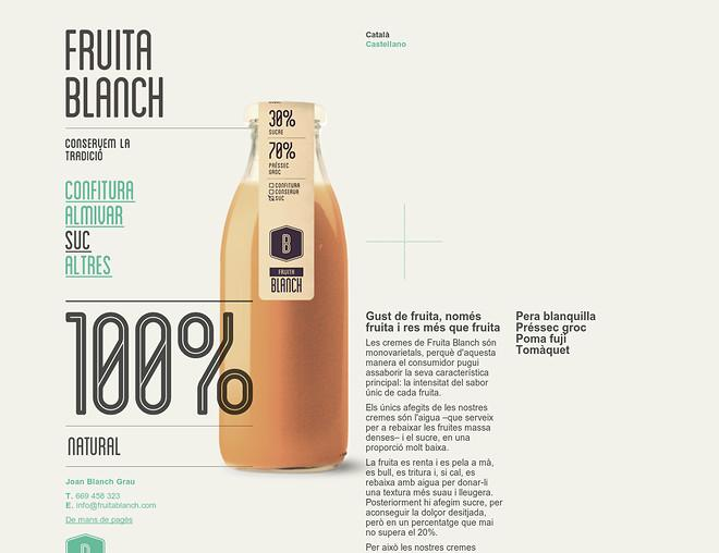Blanch fruit. Clean, nice typography and layout, packaging and label, minimal website. - Best Designs Award