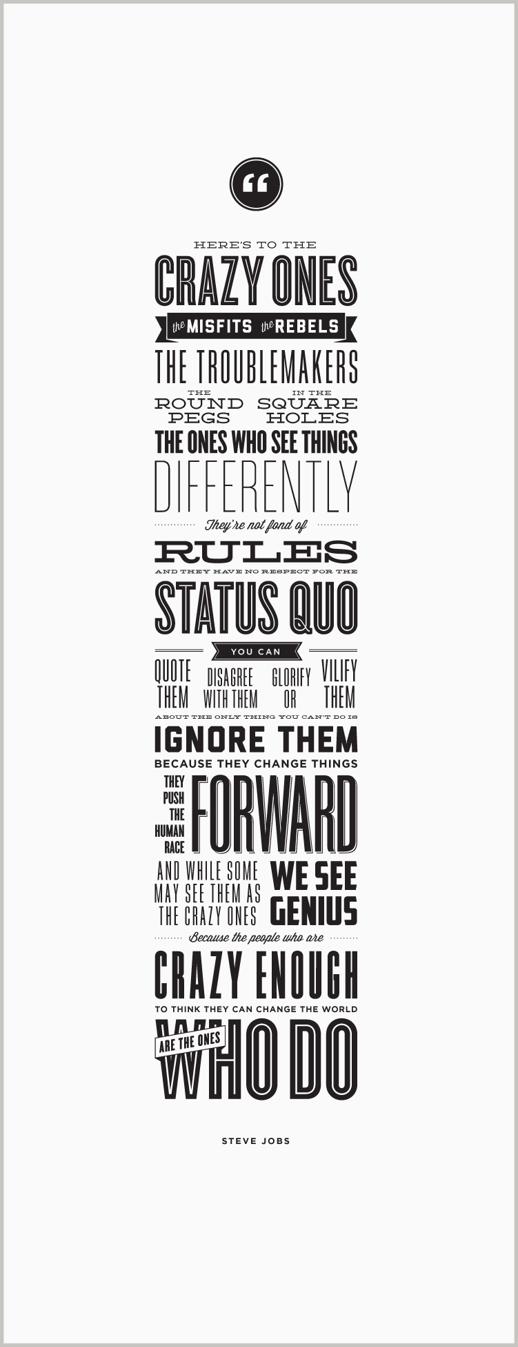 Here's to the Crazy Ones - Letterpress Poster - Steve Jobs