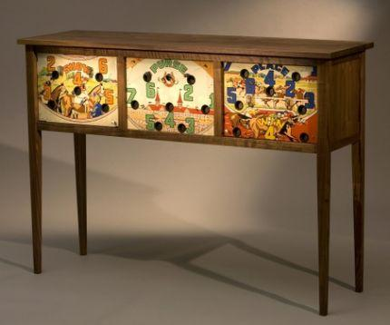 Vintage pinball machine parts incorporated into sideboard - Fine Woodworking