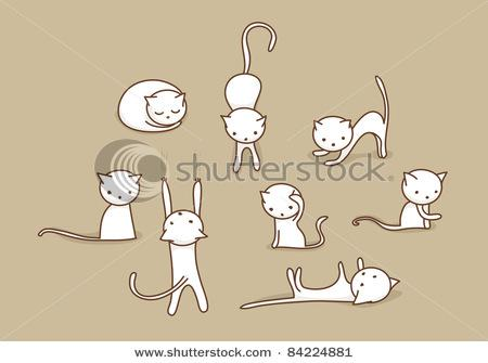 Cute White Doodle Cats In Various Positions Stock Vector 84224881 : Shutterstock