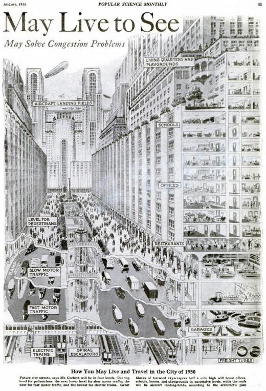 """How you may live and travel in the city of 1950?, c.1925 
